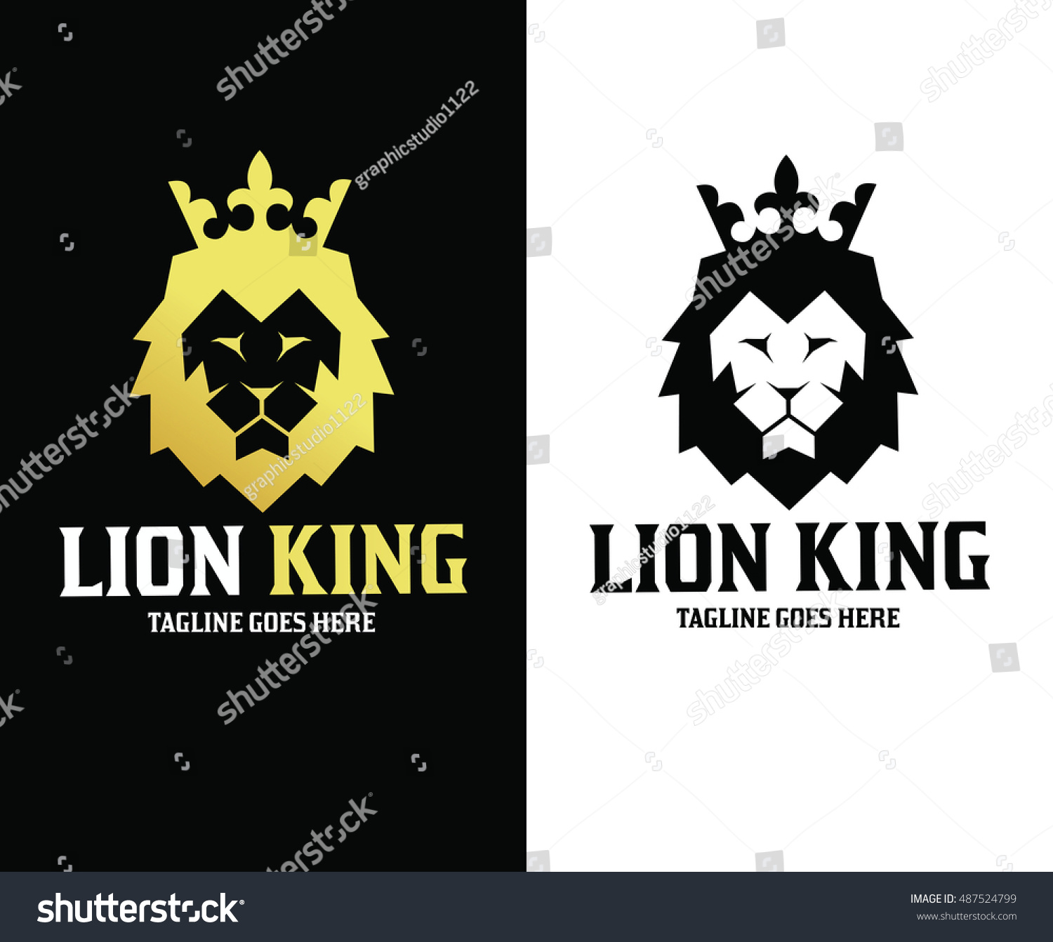 Lion Logo Design Template King Stock Vector 487524799