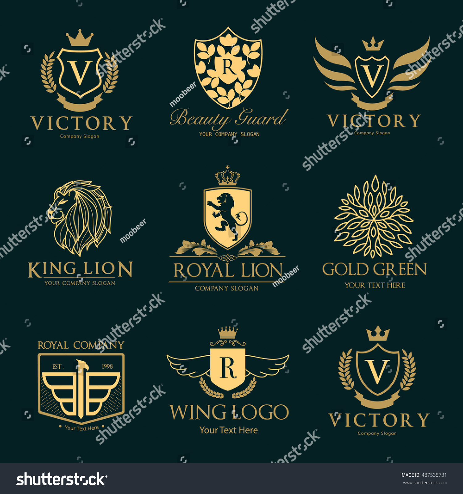 Luxury hotel logo collection victory logo stock vector for Luxury hotel company