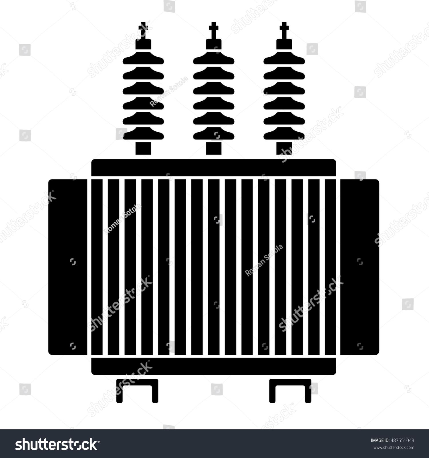 High Voltage Electrical Transformer Black Symbol Stock Vector ...