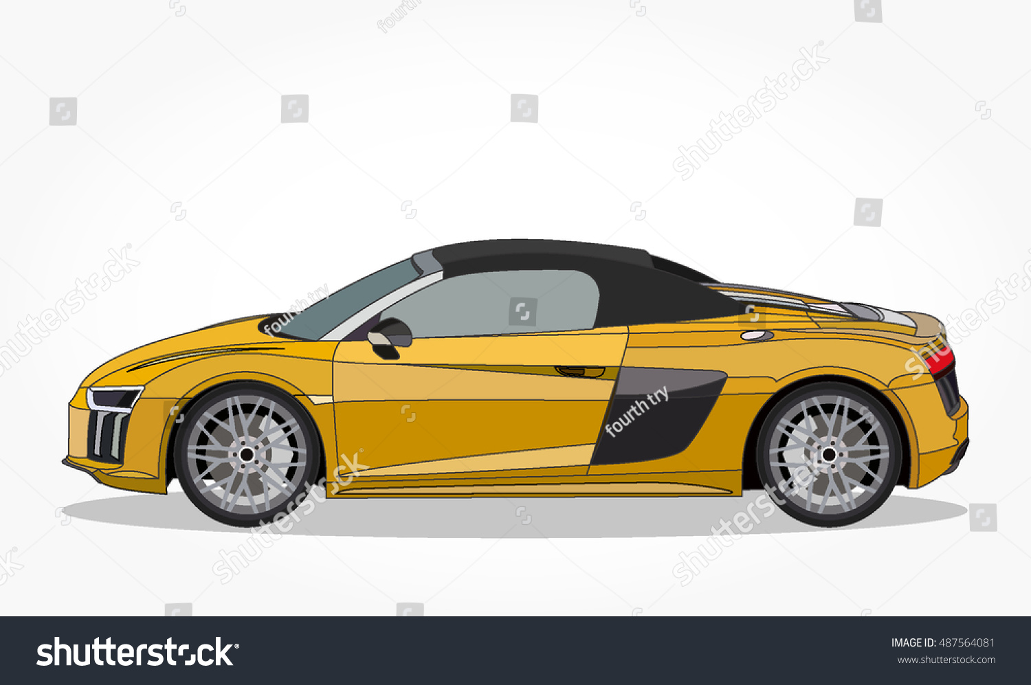 Detailed Side Flat Yellow Sports Car Stock Vector Royalty Free