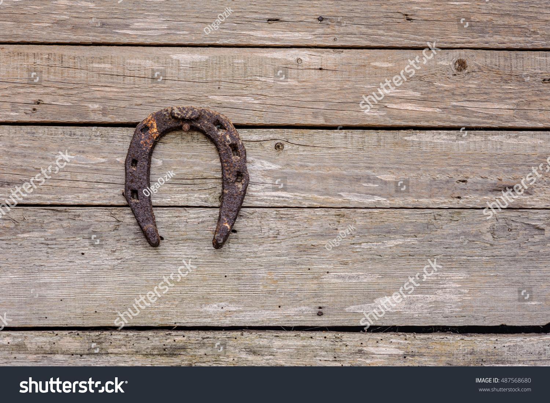 Horseshoe Good Luck Hanging On Wall Stock Photo 487568680