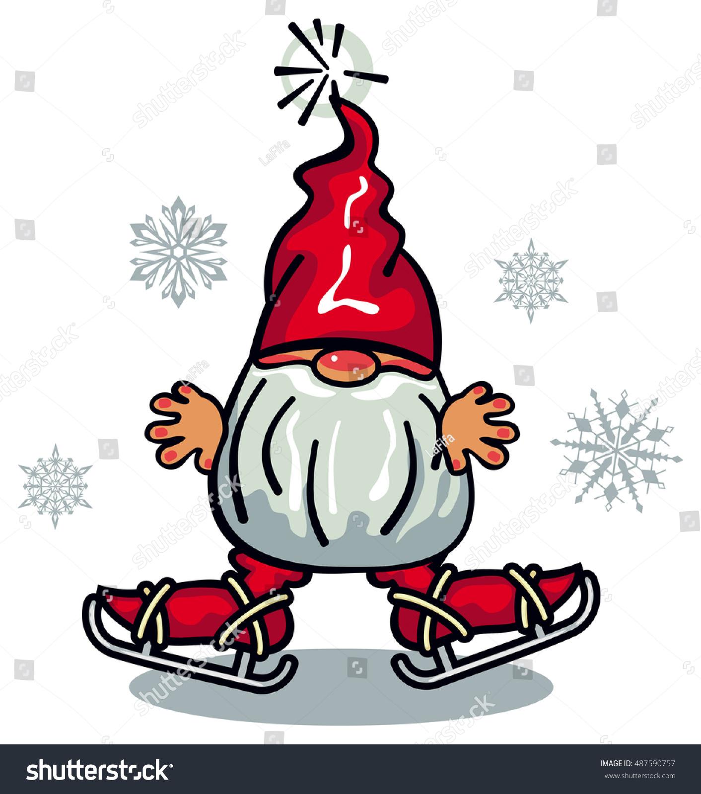 e Cute Gnome Beard Long Red Stock Vector Royalty Free