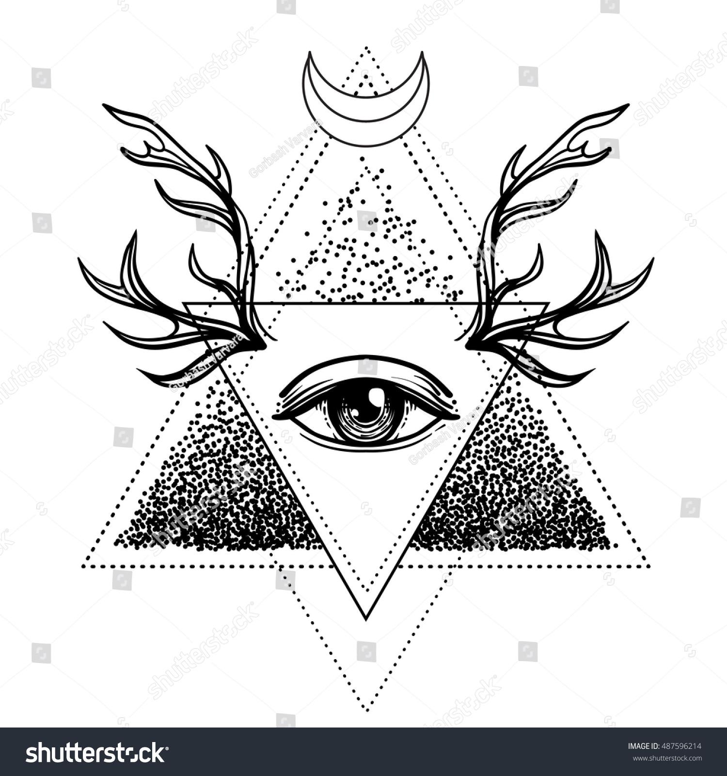 Allseeing eye symbol blackwork tattoo design stock vector all seeing eye symbol blackwork tattoo design sacred geometry third eye biocorpaavc Choice Image