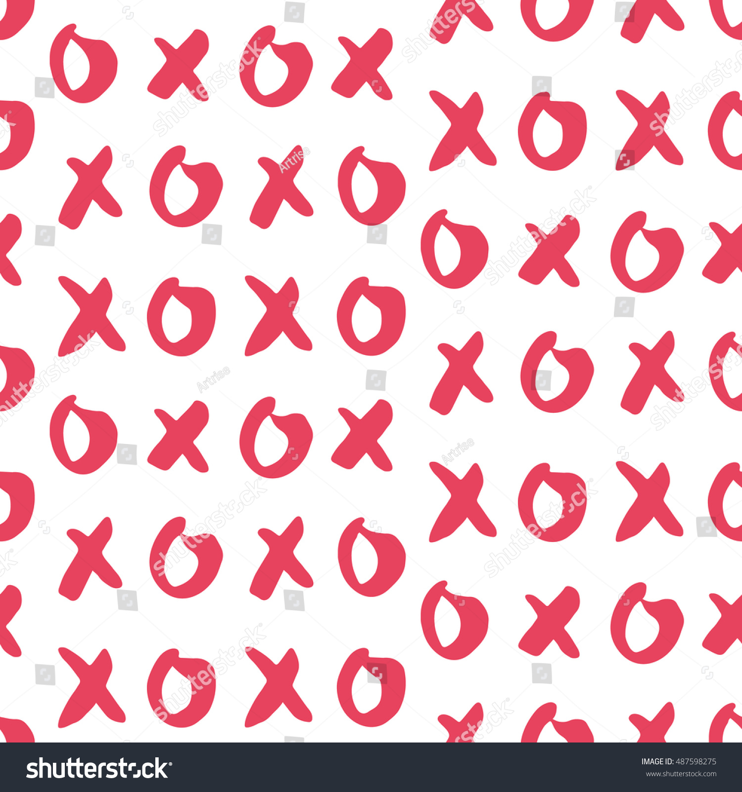 Hand Drawn Vector Seamless Pattern Xoxo Stock Vector Royalty Free
