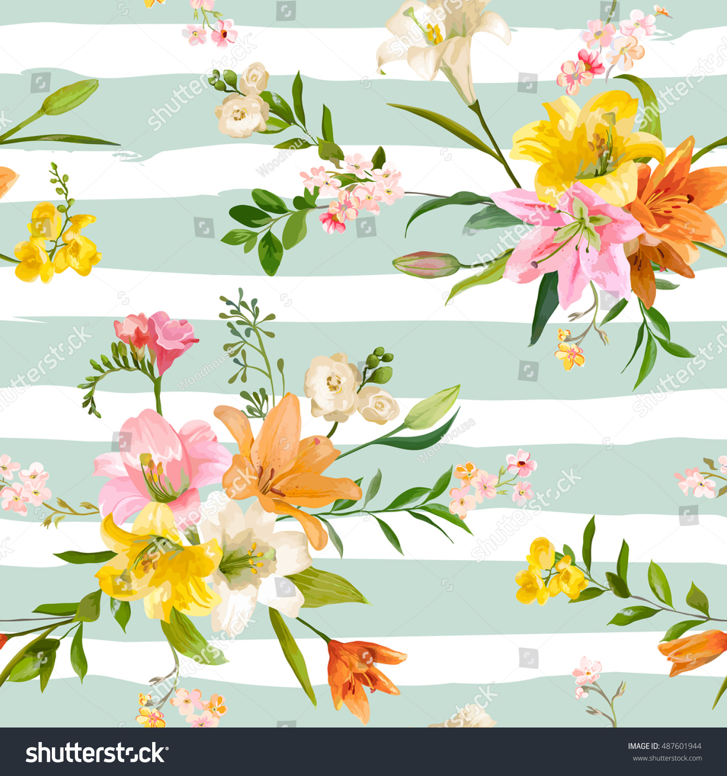 Vintage Spring Flowers Backgrounds Seamless Floral Stock Vector