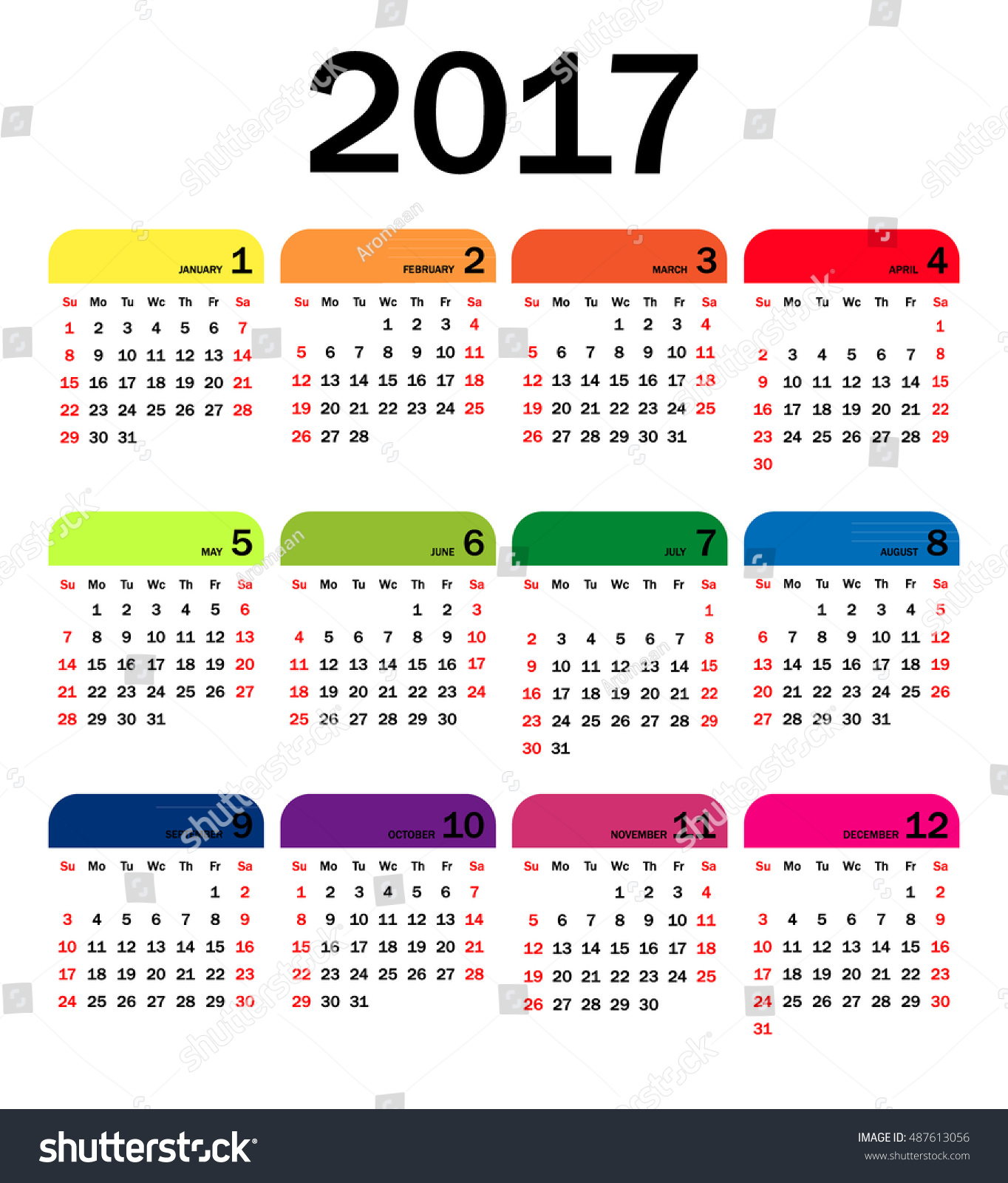 Horizontal Calendar Design : Horizontal calendar for on white background stock