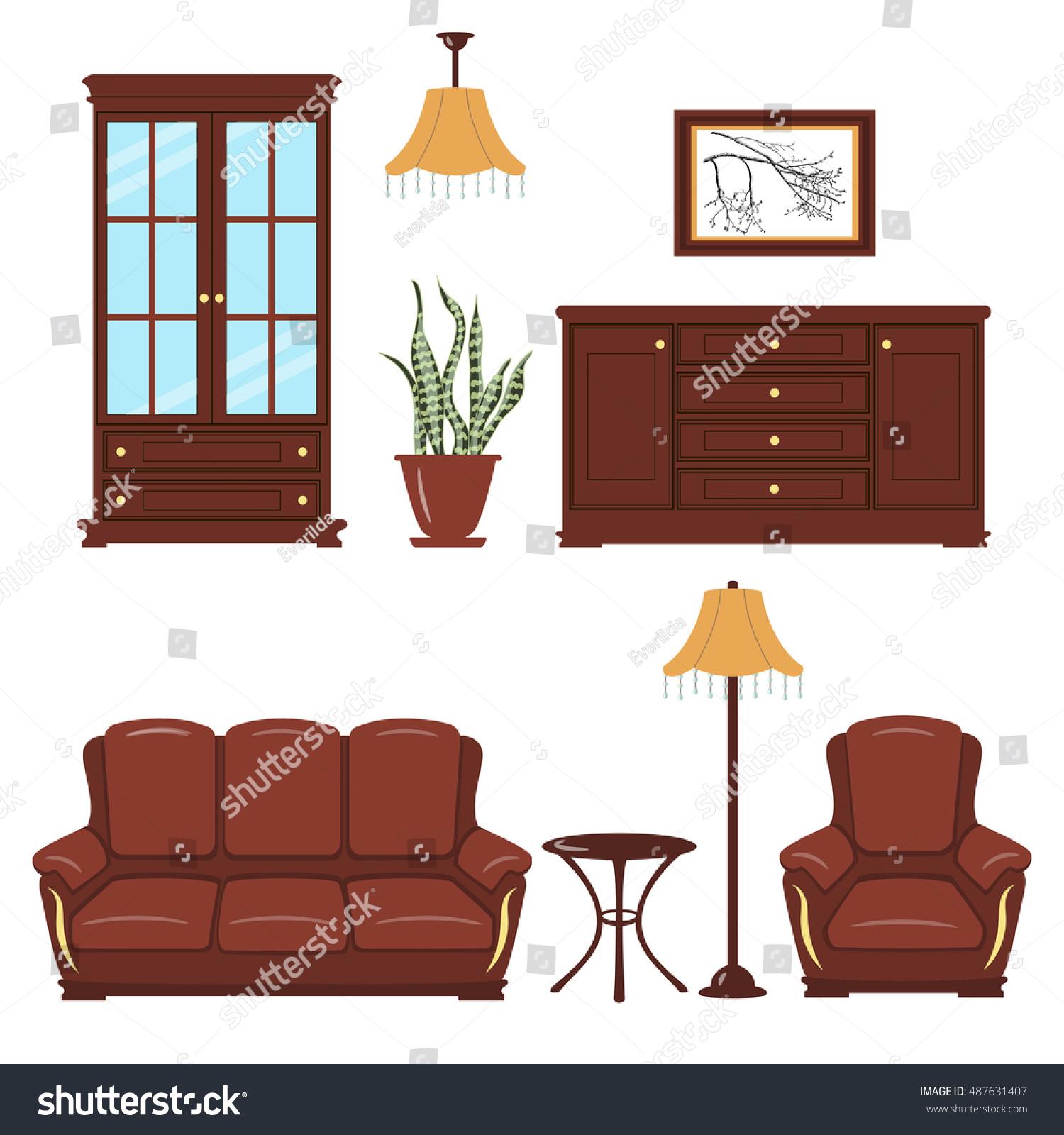 set furniture bookcase armchair sofa standard stock vector