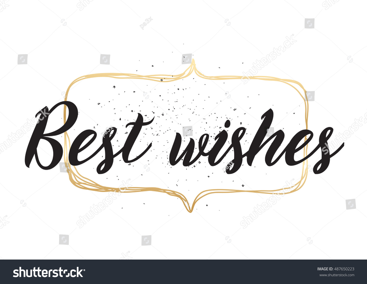 best wishes inscription greeting card calligraphy stock illustration