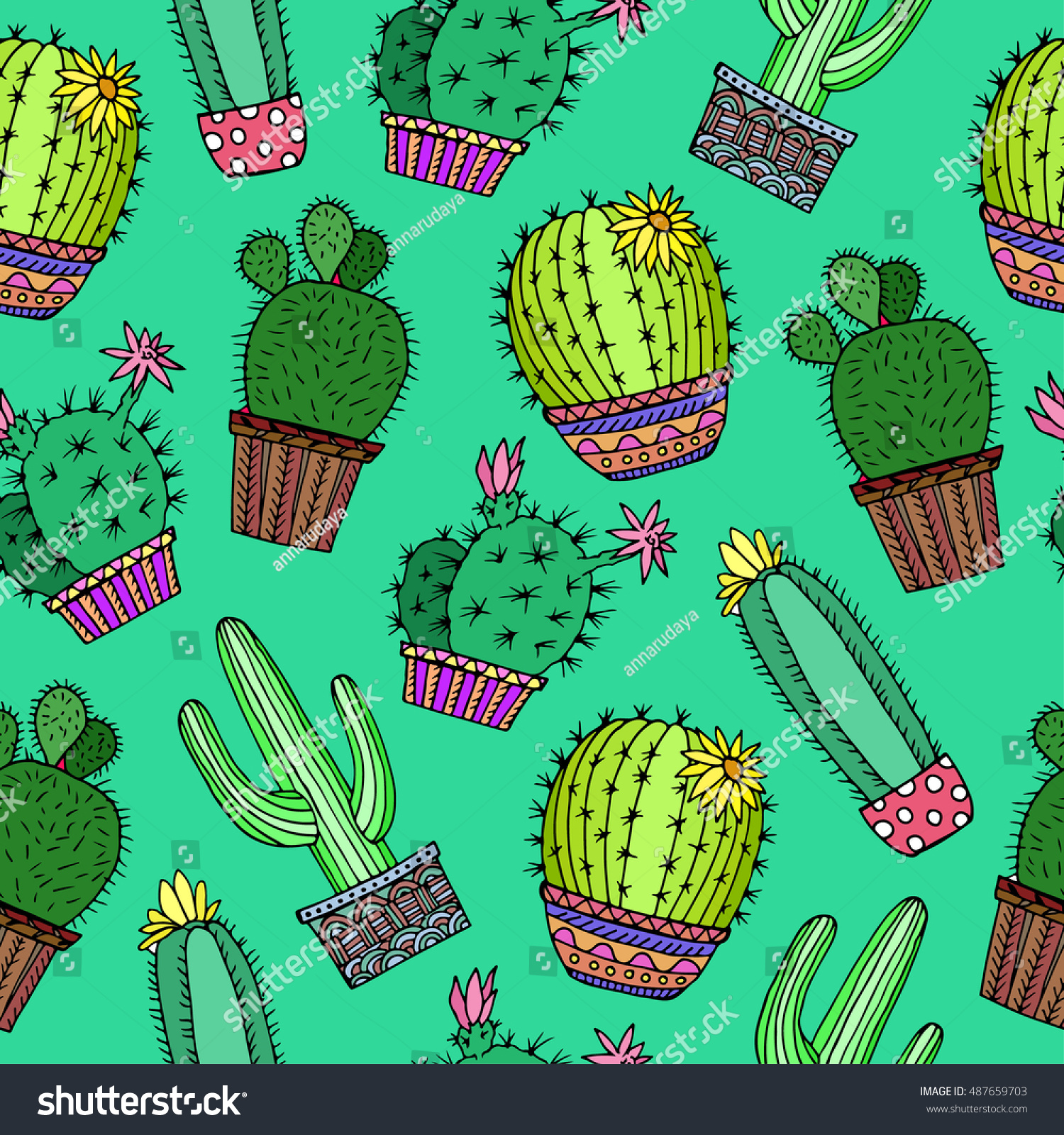 Simple Wallpaper Green Birthday - stock-vector-cactus-plant-background-seamless-pattern-green-with-flower-doodle-floral-vector-illustration-487659703  2018_811331 .jpg