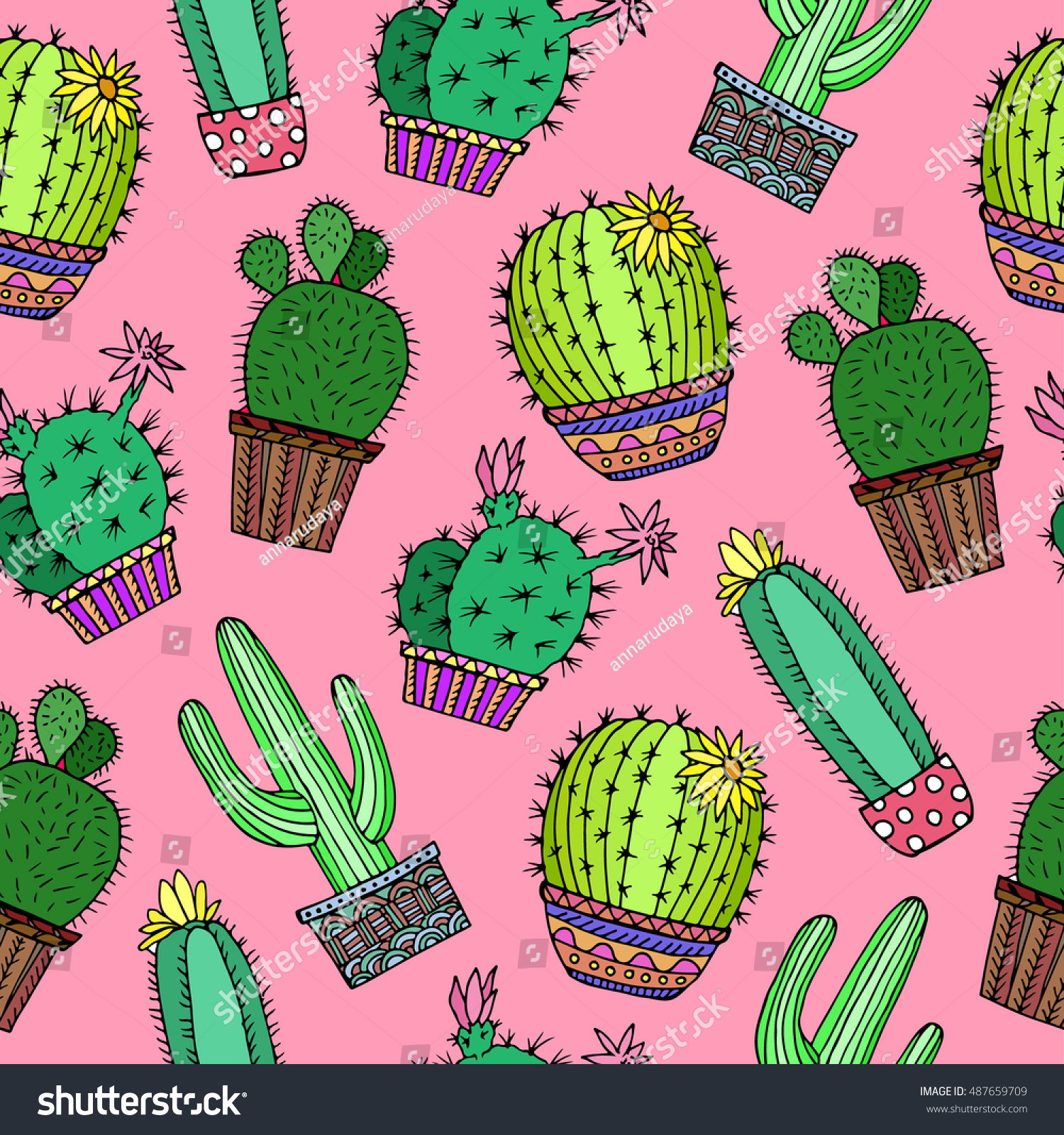 Popular Wallpaper Green Birthday - stock-vector-cactus-plant-background-seamless-pattern-green-pink-flower-doodle-floral-vector-illustration-487659709  HD_70210 .jpg