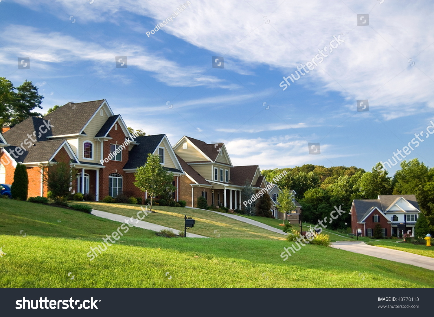 American street with beautiful houses stock photo 48770113 for Beautiful homes in america
