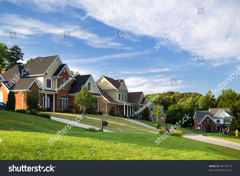 American street beautiful houses stock photo 48770113 for Beautiful house music