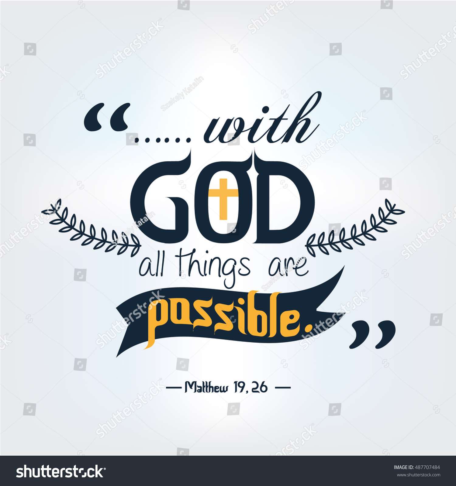 God Quote Quote Bible God All Things Possible Stock Vector 487707484