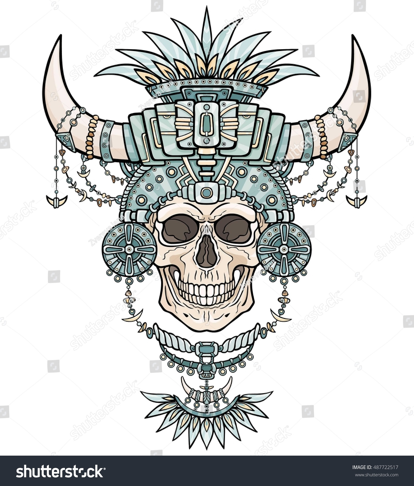 Shamans mummy human skull magic clothes stock vector 487722517 the shamans mummy human skull in magic clothes with animal horns boho design buycottarizona