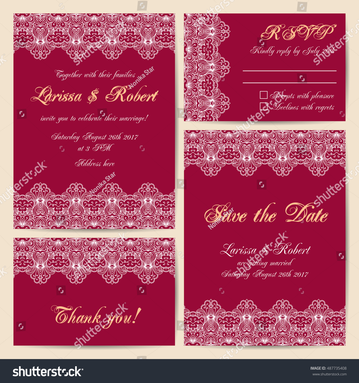 Set Wedding Cards Delicate Lace Ornament Stock Vector (Royalty Free ...