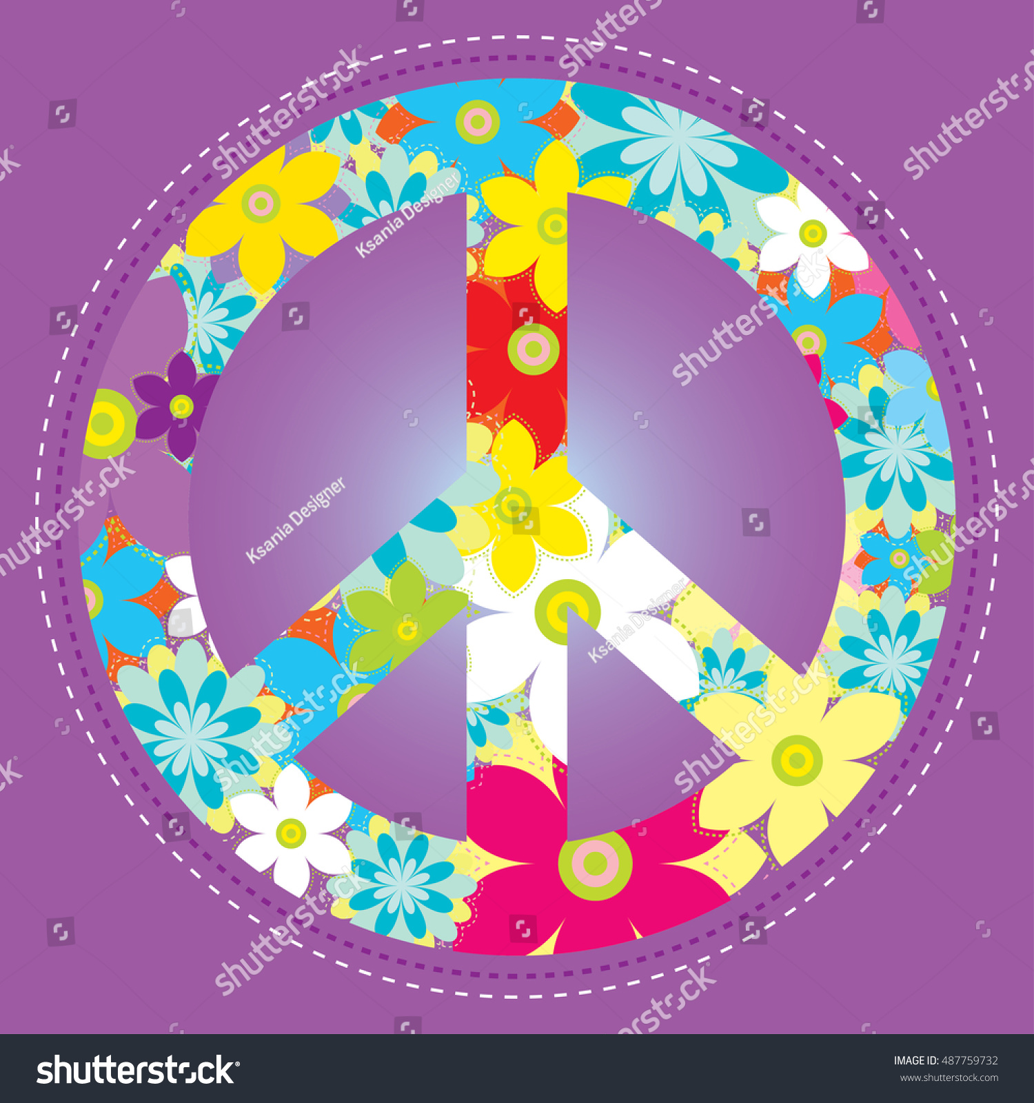 Vector Illustration Peace Symbol Flowers Violet Stock Vector