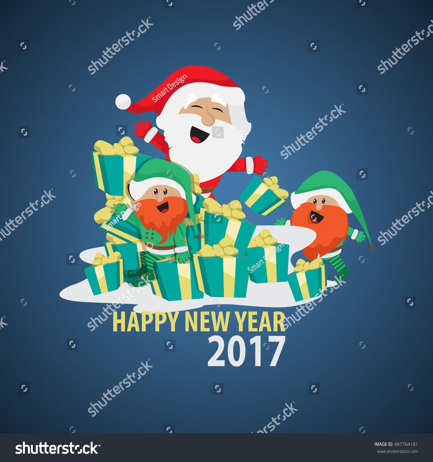 Santa Claus Greeting Card Vector Illustration Stock Vector 487764181