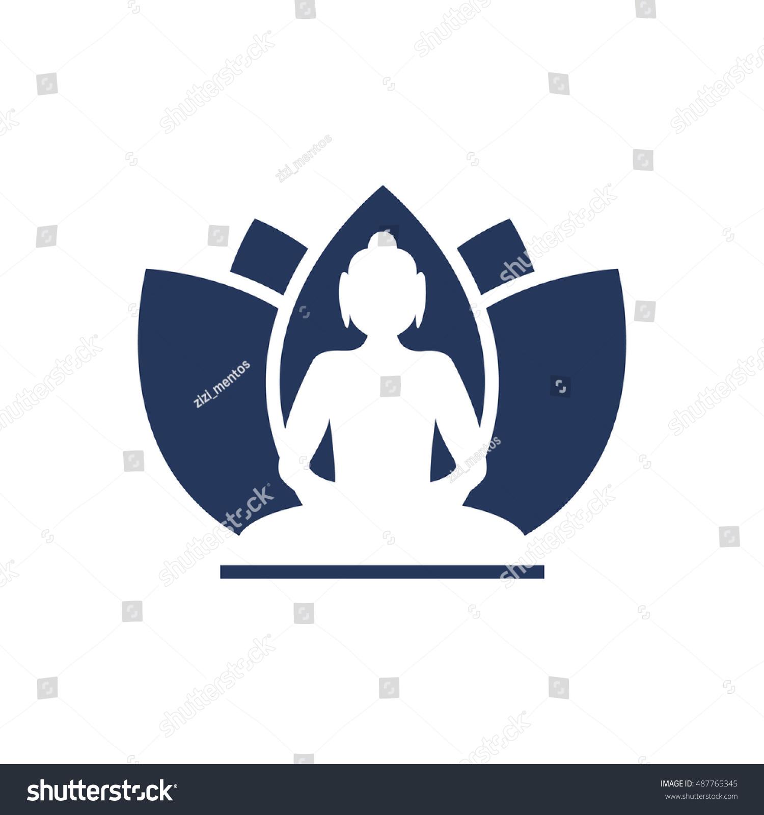 Buddha lotus flower logo design vector stock vector 487765345 buddha with lotus flower logo design vector illustration buycottarizona Gallery