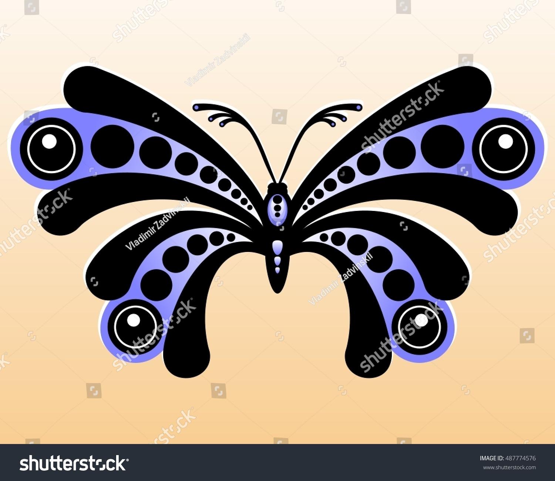 Decorative Butterfly Stylized Black Blue Butterfly Stock Vector ...