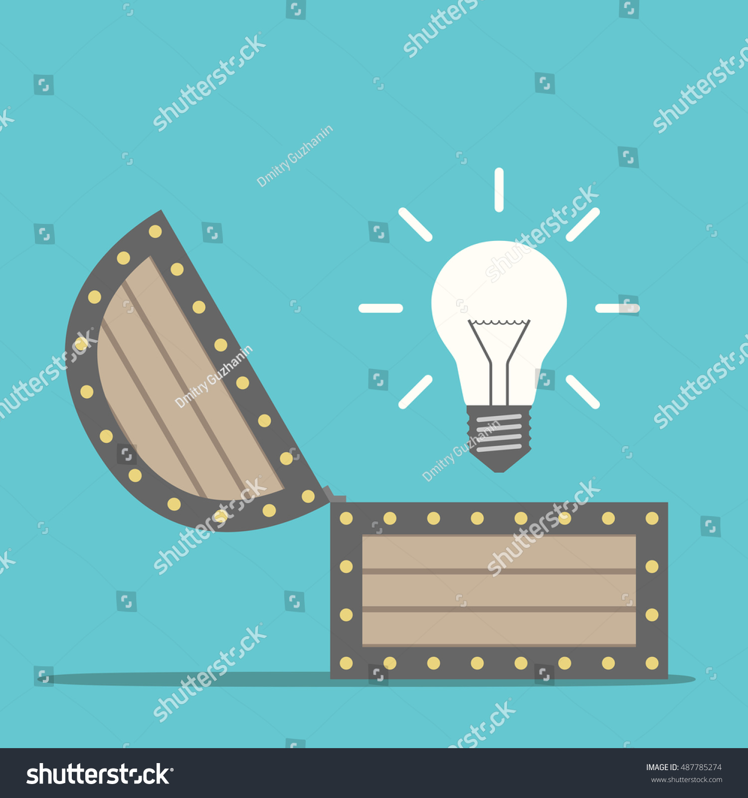 Bright glowing light bulb appearing wooden stock vector 487785274 bright glowing light bulb appearing from wooden treasure chest idea insight and innovation concept publicscrutiny Image collections