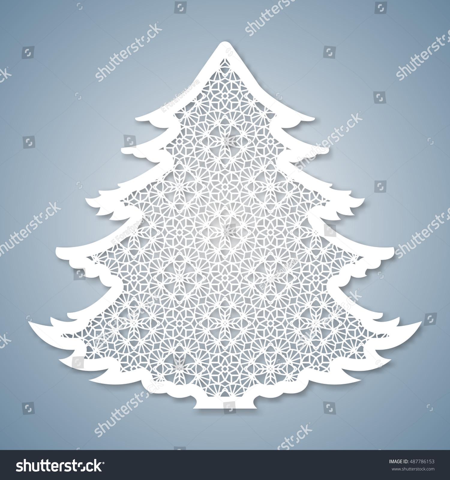Christmas Tree Geometric Pattern Laser Cutting Stock Vector