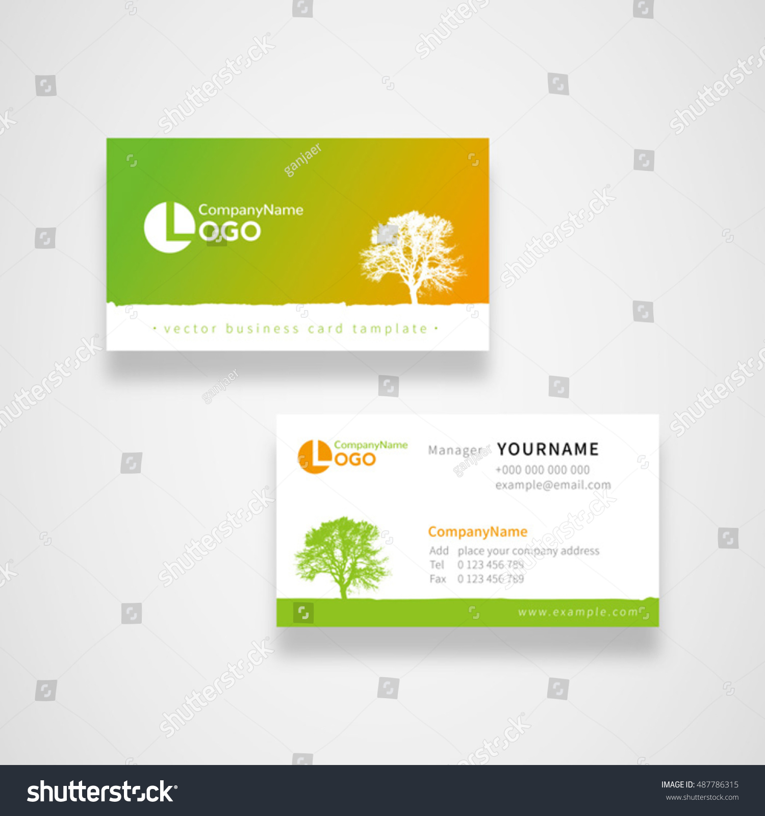 Tree Green Nature Concept Business Name Stock Vector 487786315 ...