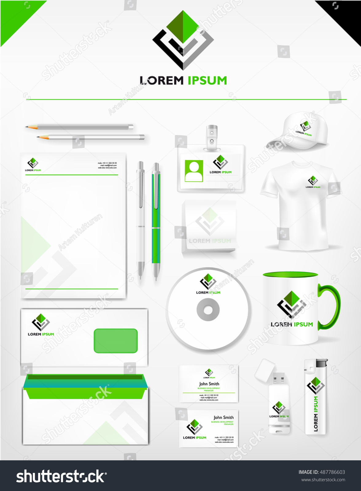 Corporate green dark identity professional template stock vector corporate green and dark identity professional template realistic cup business card letterhead friedricerecipe Image collections