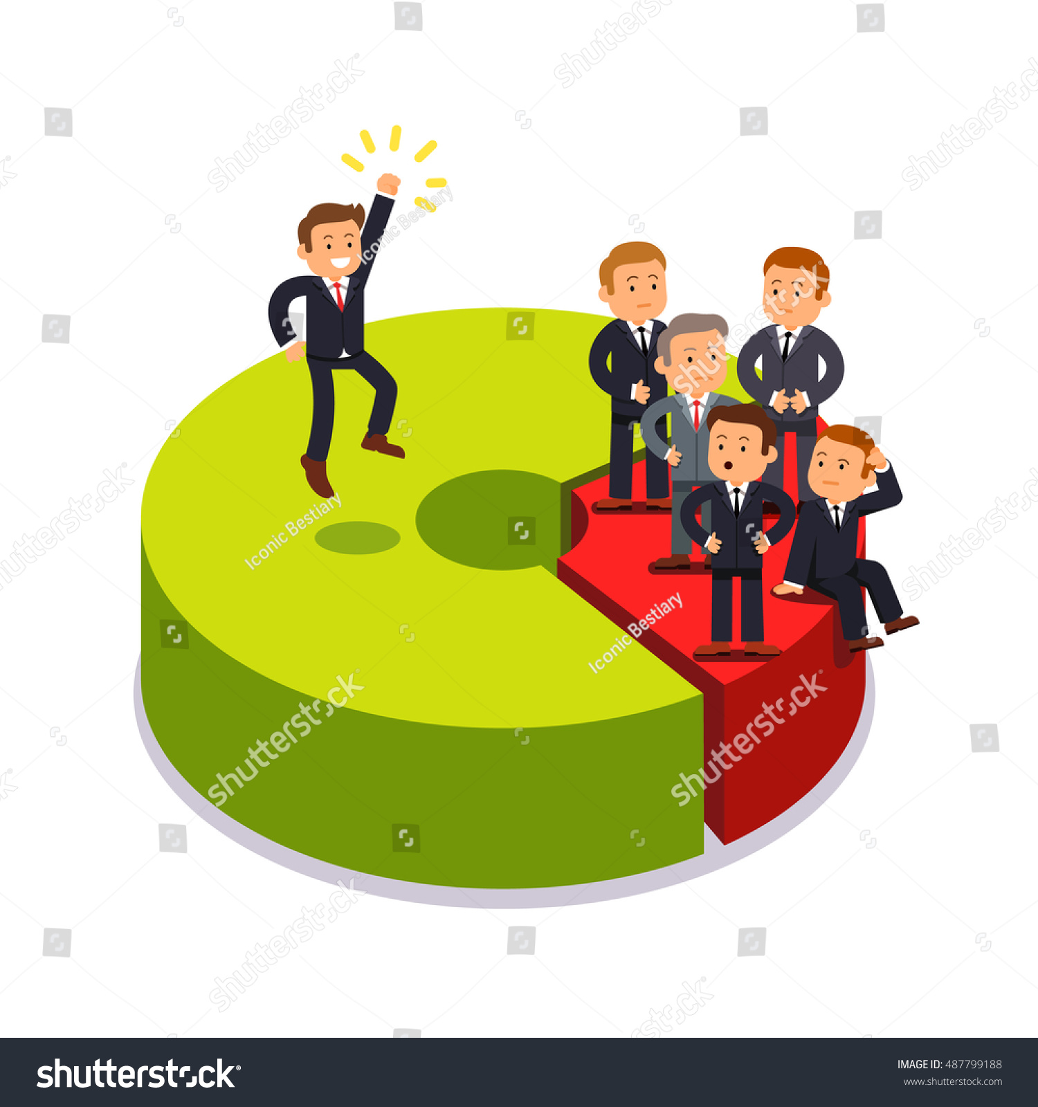 Monopolist Owning 80 Share Market Business Stock Vector