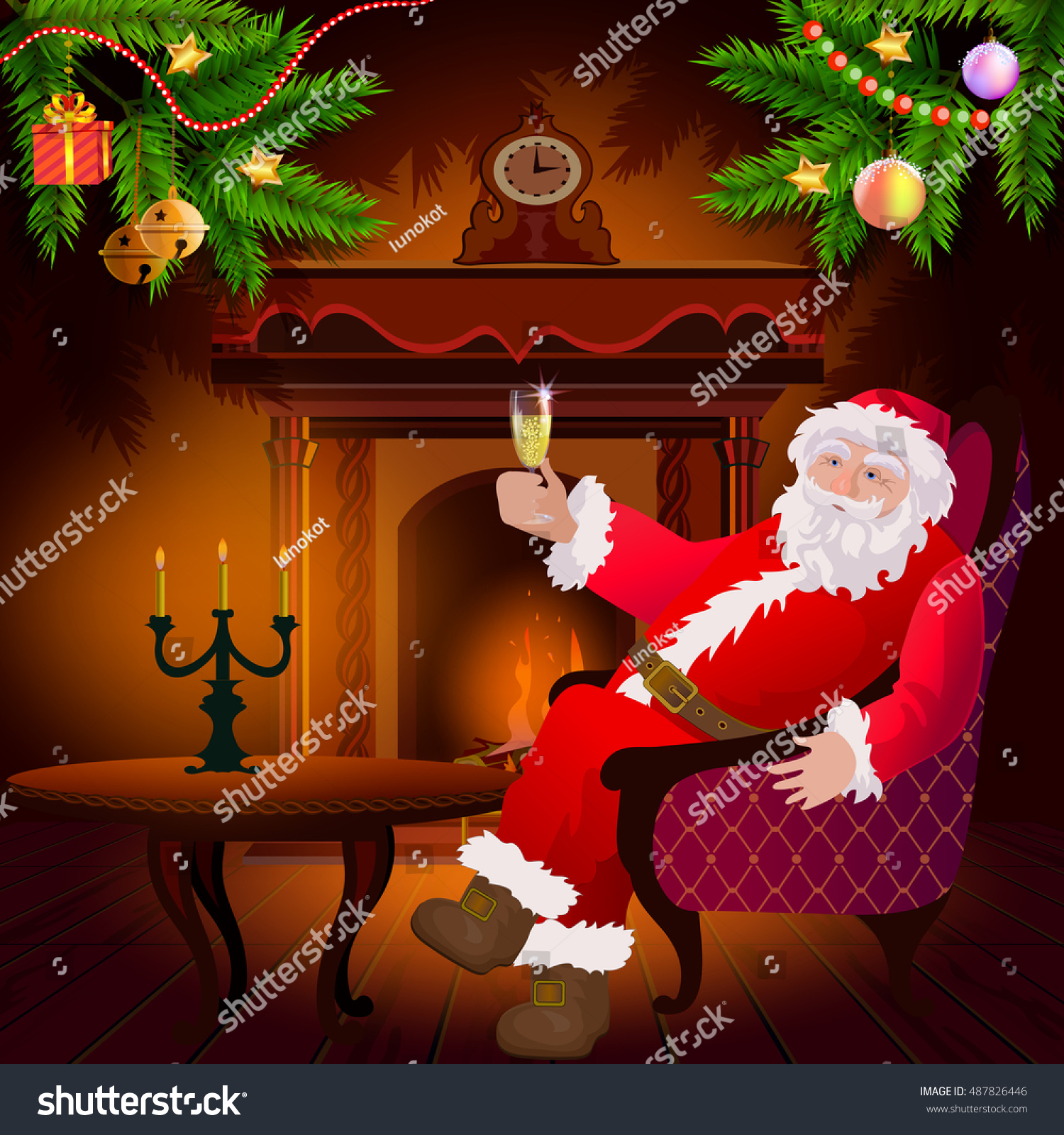 santa claus sitting on chair by stock vector 487826446 shutterstock