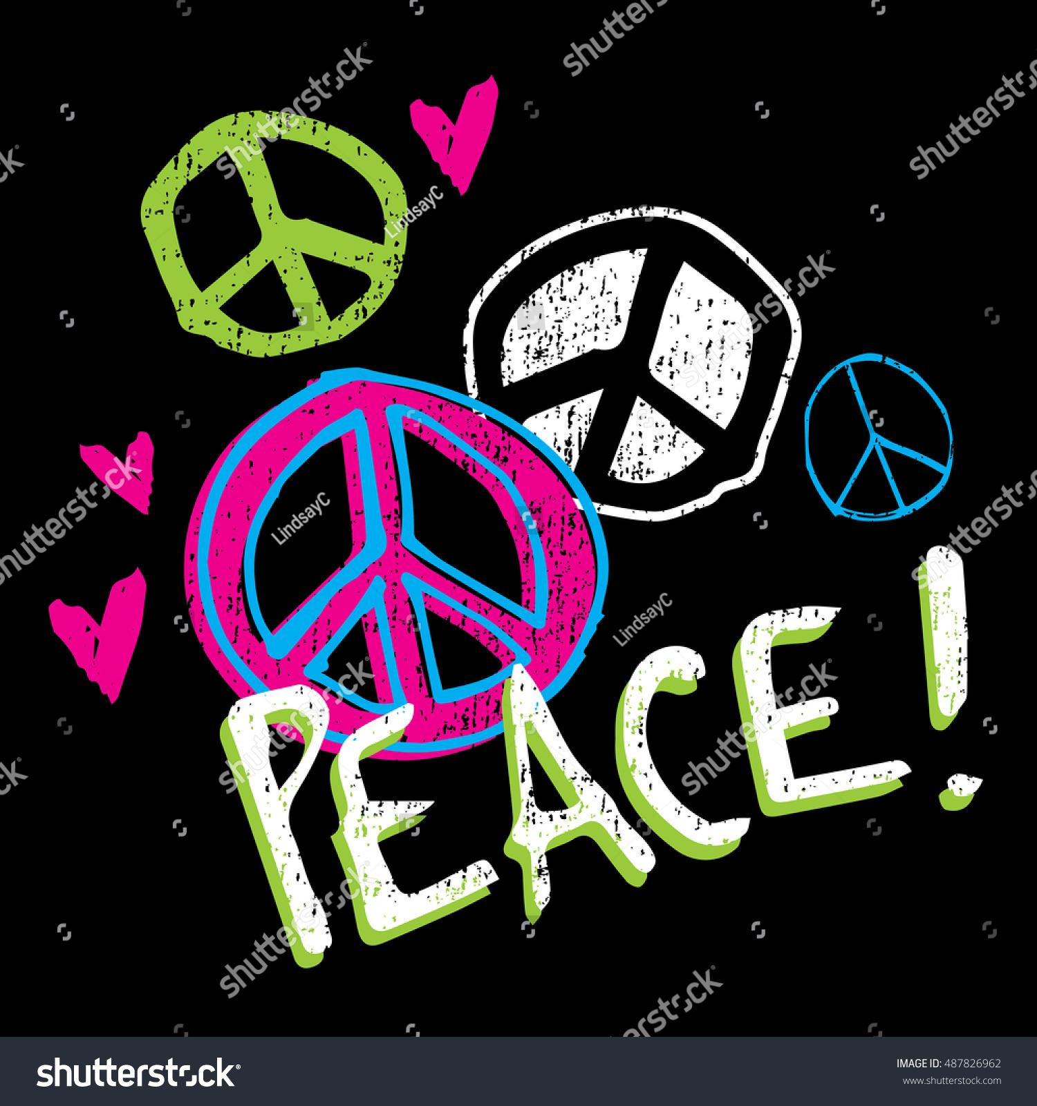 KIDS BOYS GIRLS Peace Graphic Tee T-Shirt Love Hippie Music