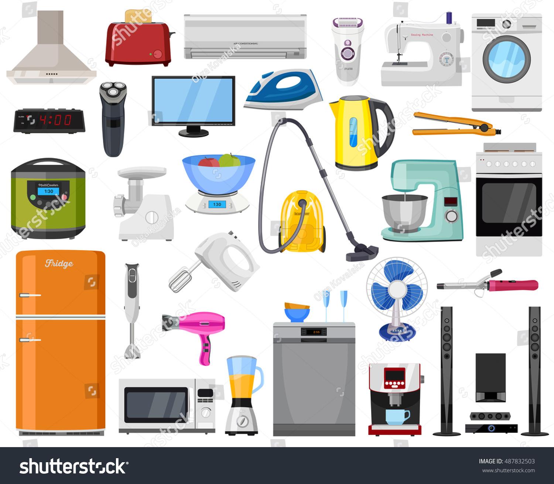 Household Kitchen Appliances ~ Set home kitchen house electronics appliances stock vector