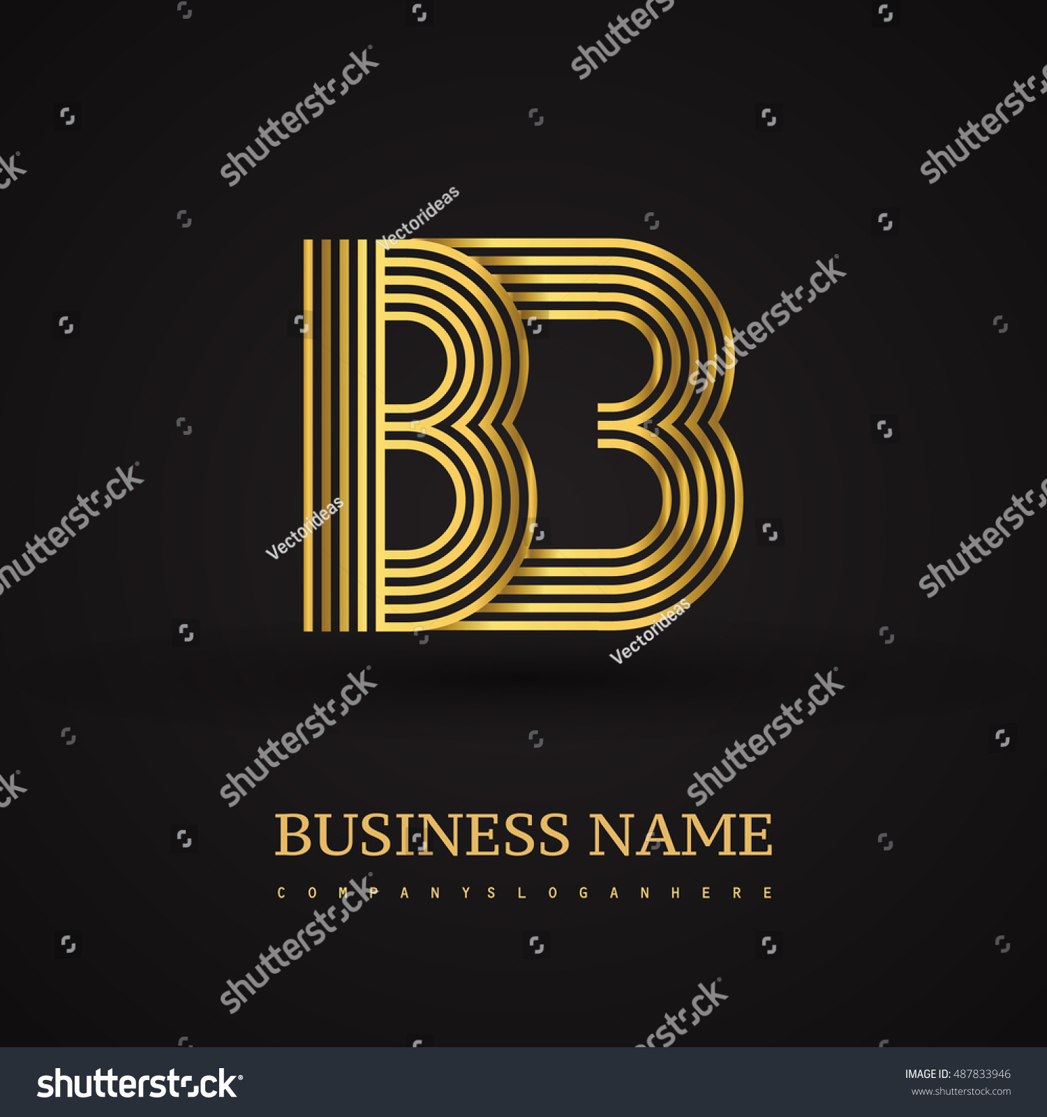 Elegant Initial Logo Bb Letter Gold Stock Vector Royalty Free
