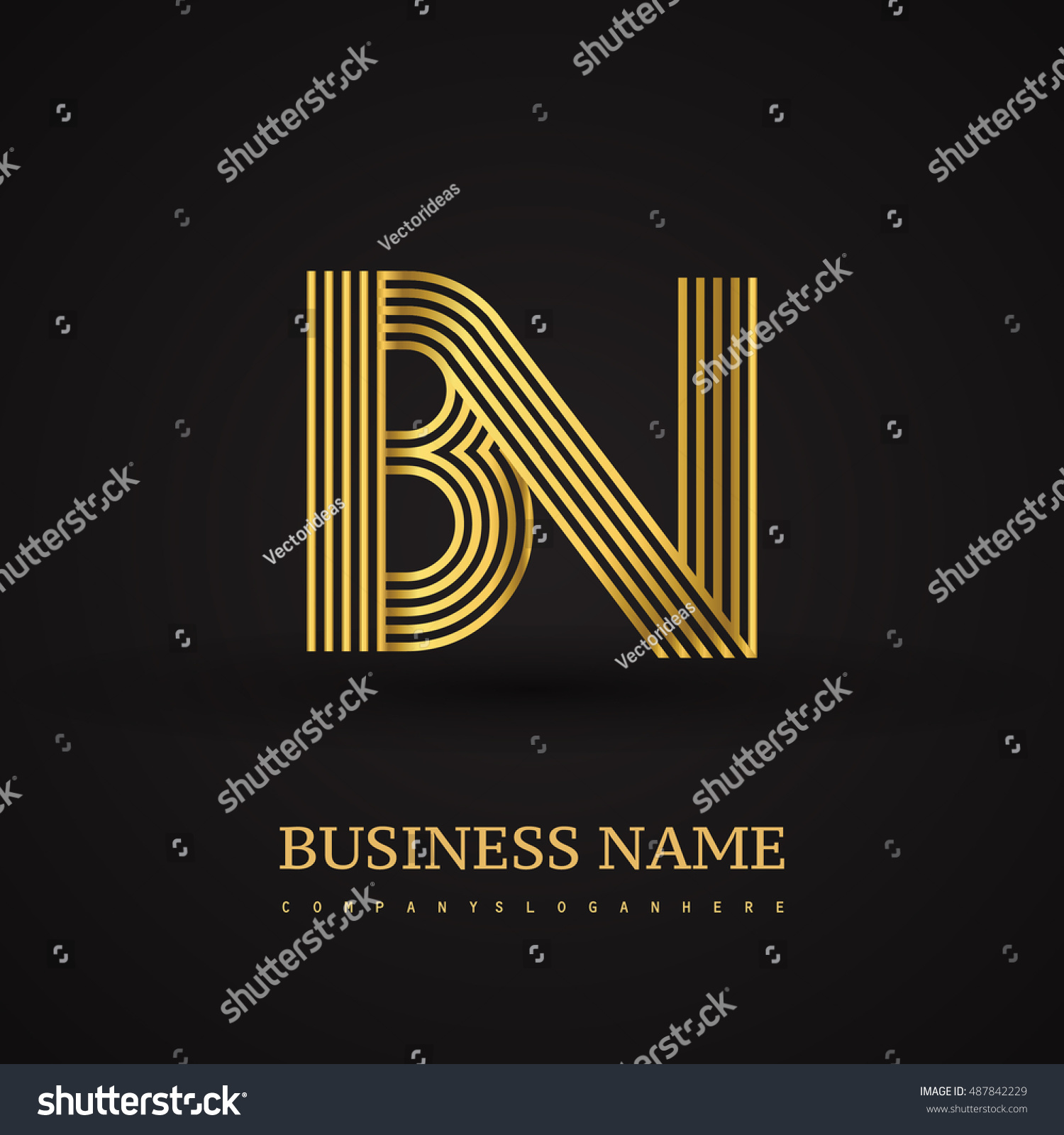 Elegant initial logo bn letter gold stock vector 487842229 elegant initial logo bn letter gold colored vector design template elements for company identity buycottarizona Image collections