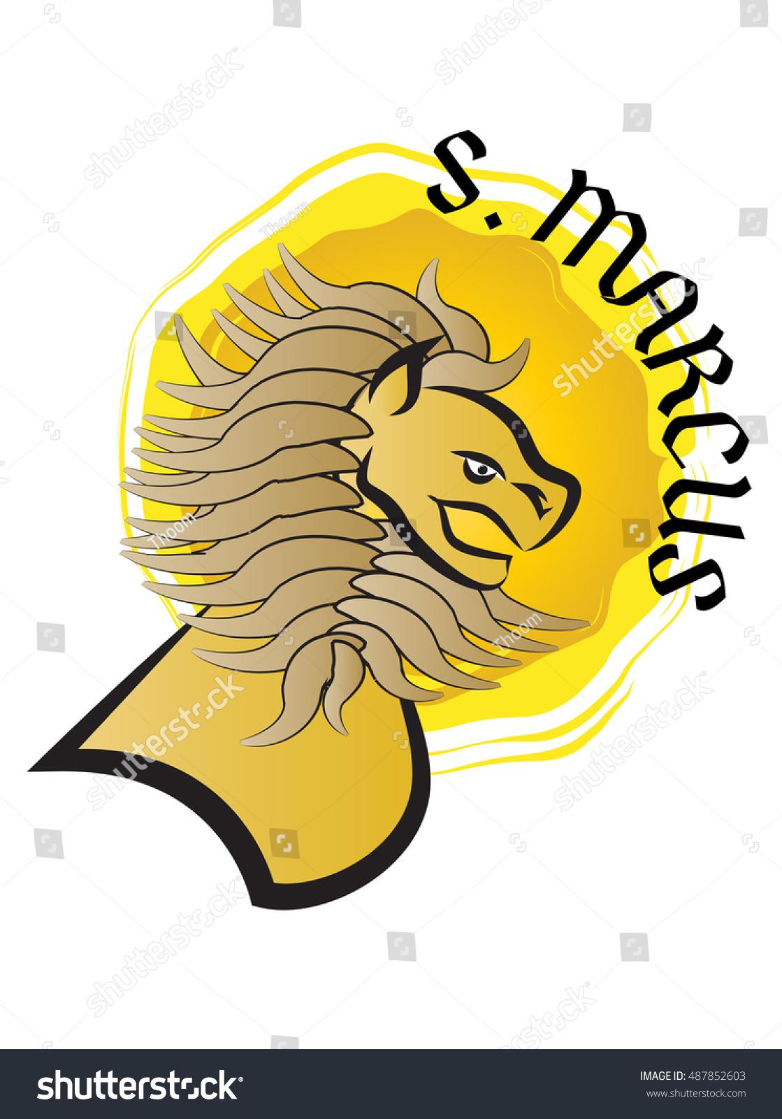 Lion Symbol St Mark Evangelist Stock Vector Royalty Free 487852603