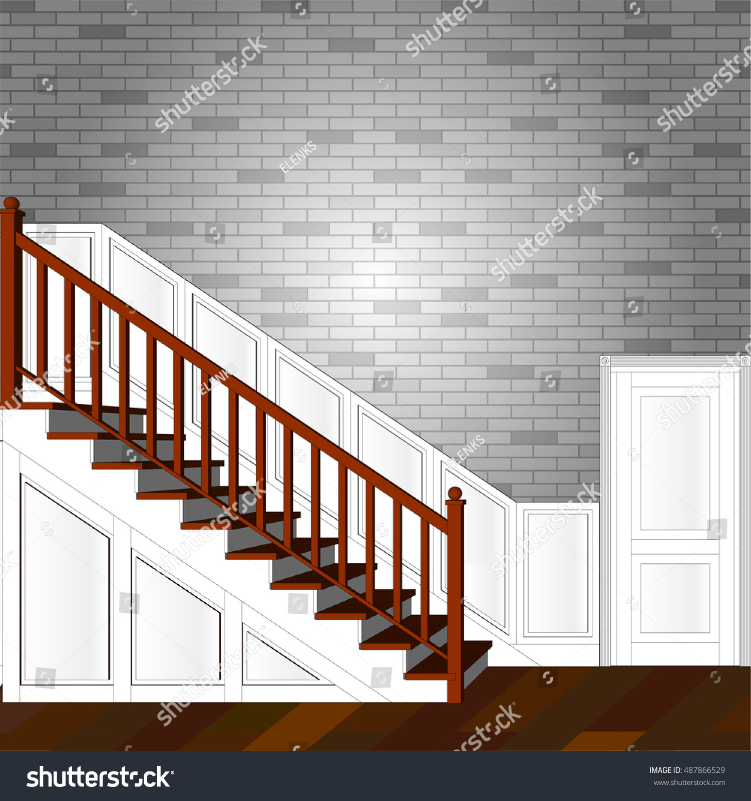 Stair Wooden With White Panels And The Door Closed. Gray Brick Wall And  Wood Floor