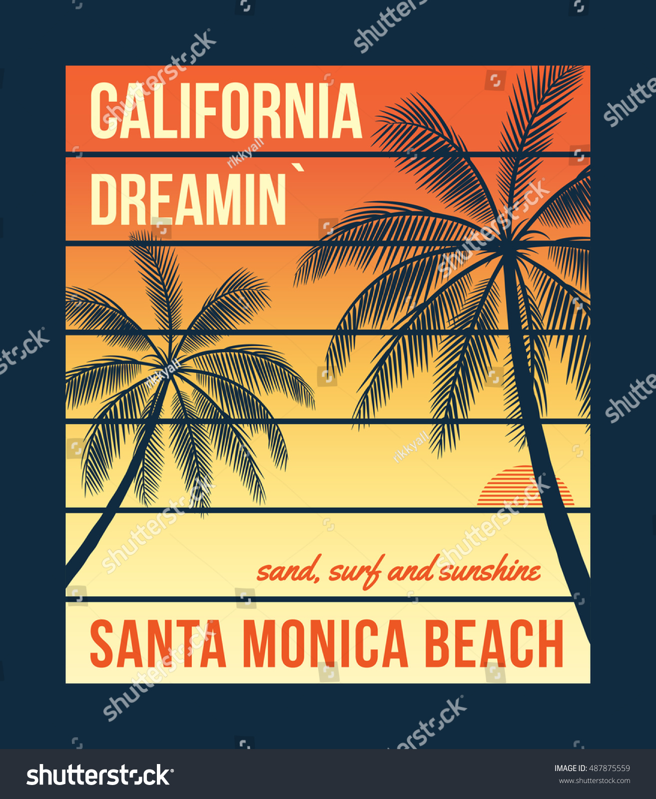 California t-shirt graphics with palms T-shirt design print typography label badge Vector illustration