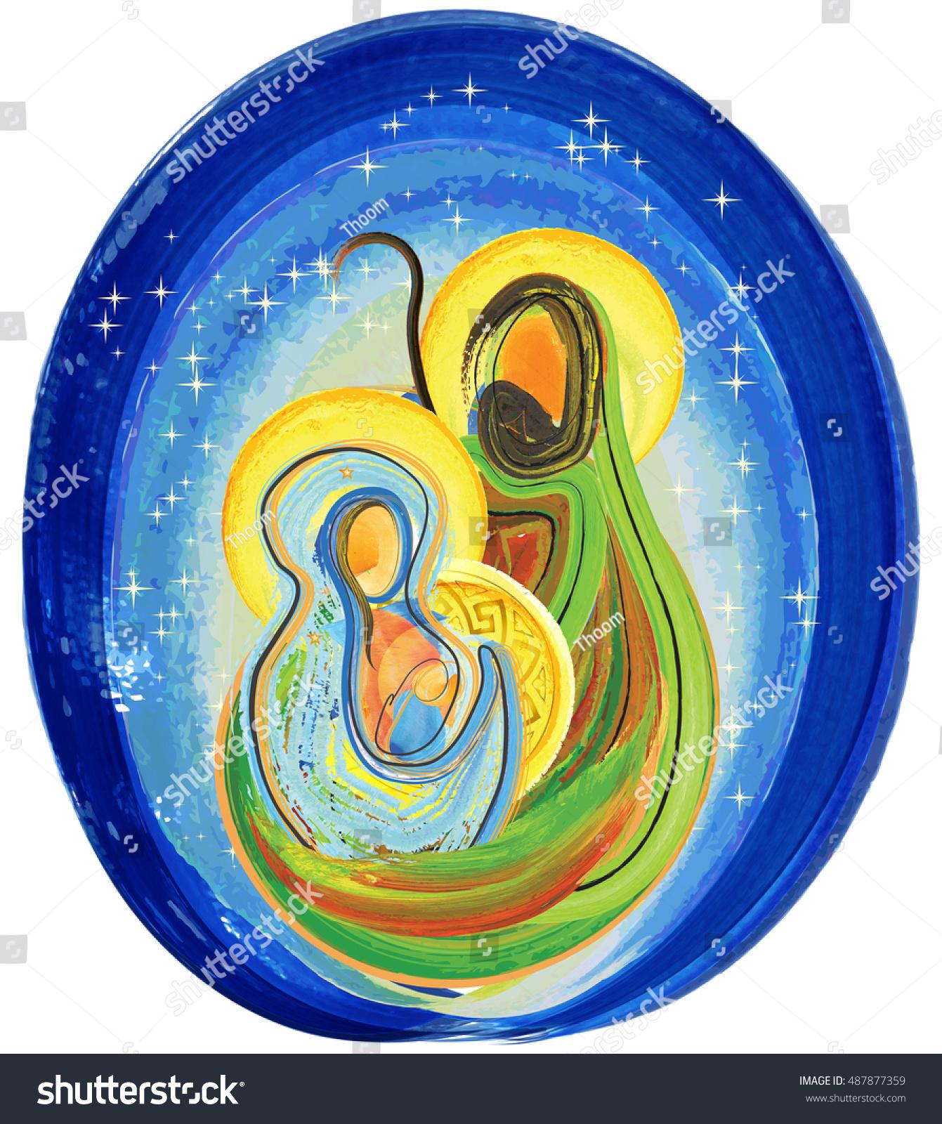 Holy Family Admires Jesus Nativity Religious Christmas: Christmas Religious Nativity Scene Holy Family Stock