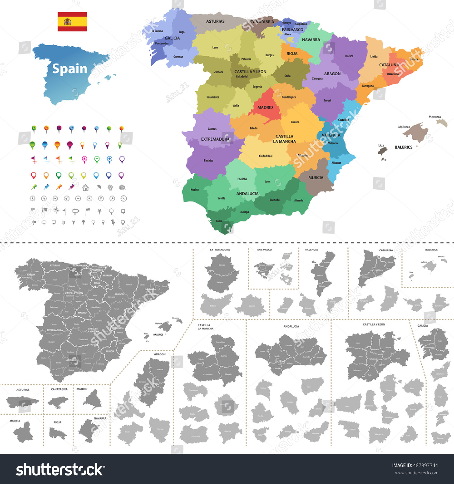 Spain High Detailed Vector Map Colored Stock Vector 2018 487897744