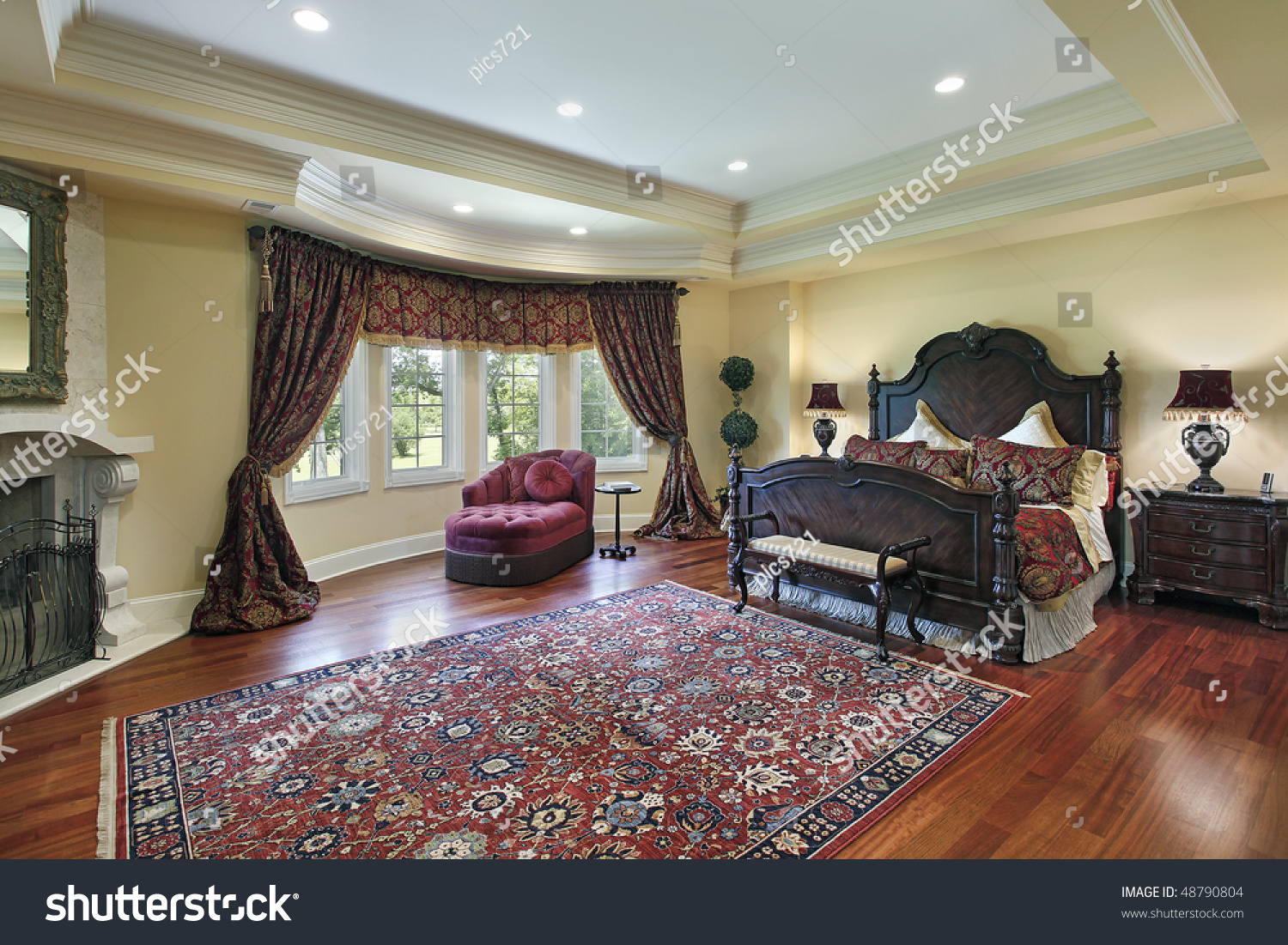 Master Bedroom Fireplace Luxury Master Bedroom With Recessed Ceiling And Fireplace Stock
