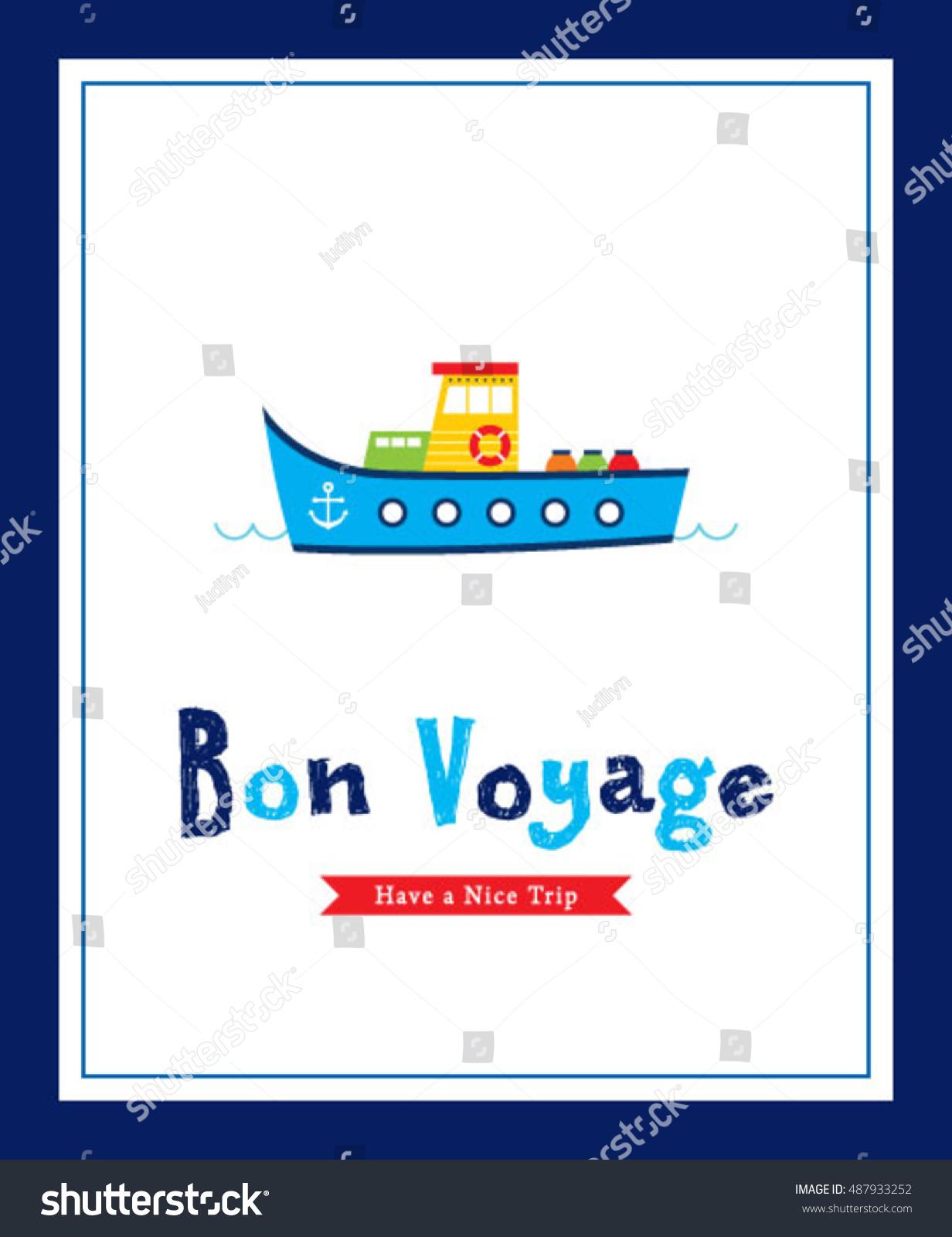 Cute ship bon voyage greeting card stock vector 487933252 shutterstock cute ship bon voyage greeting card kristyandbryce Image collections