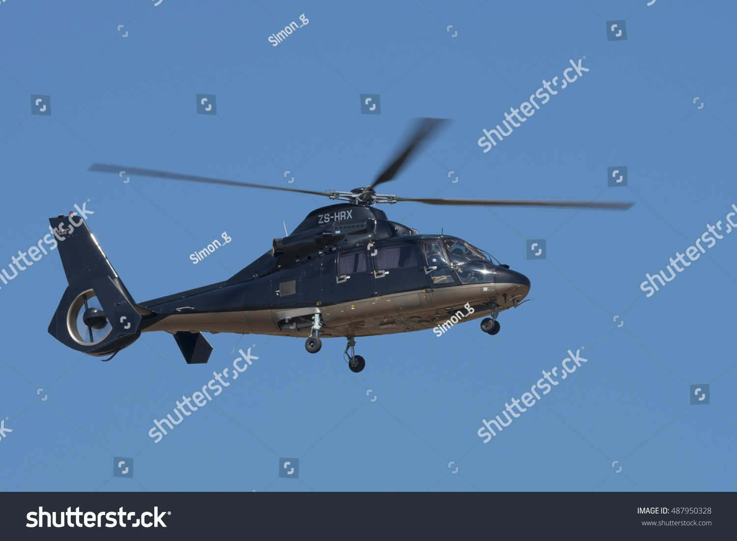 Germiston South AfricaAugust 21 2016 A Dauphin Business Helicopter Flies P