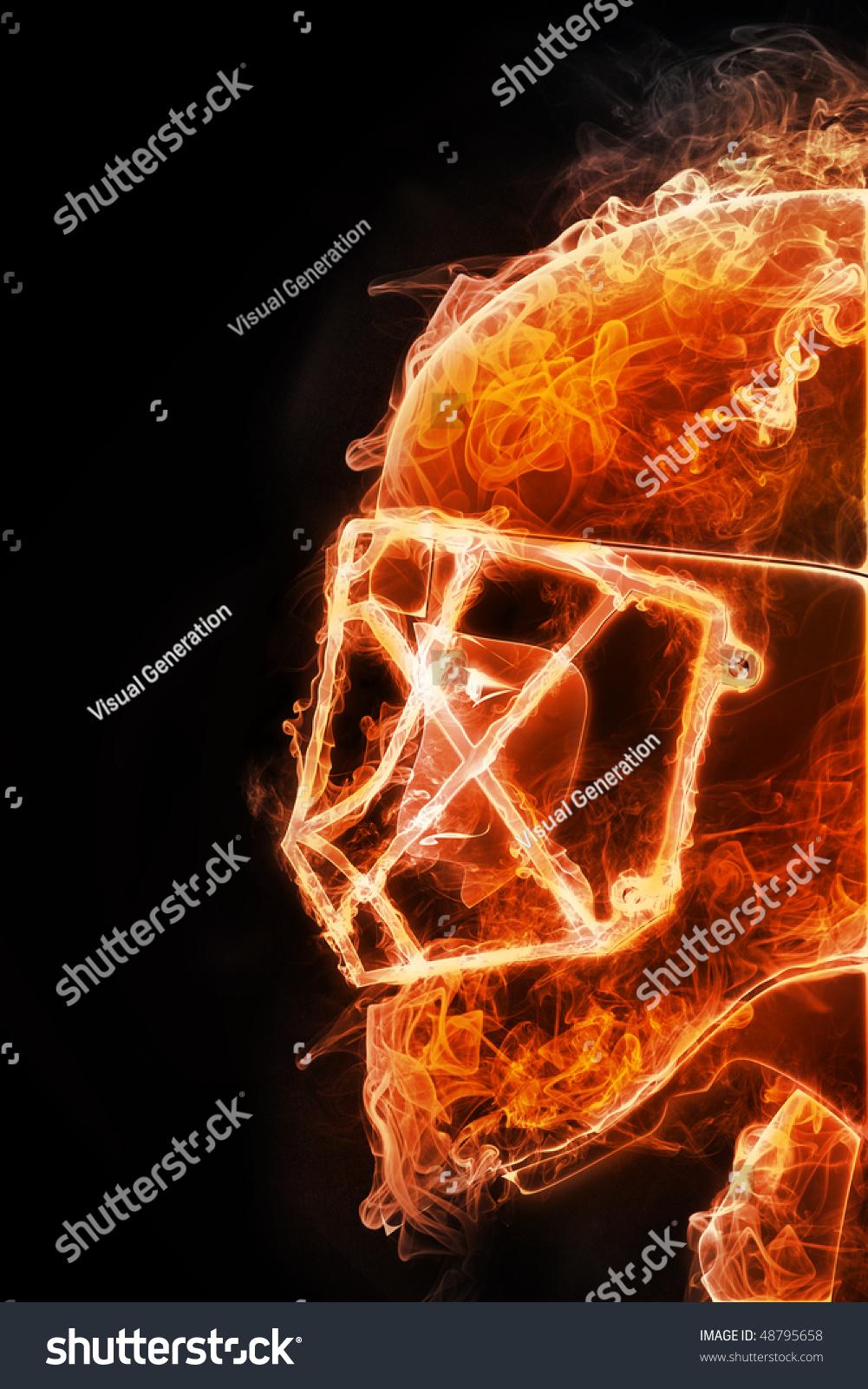 Hockey Player Fire Style On Black Stock Illustration ...