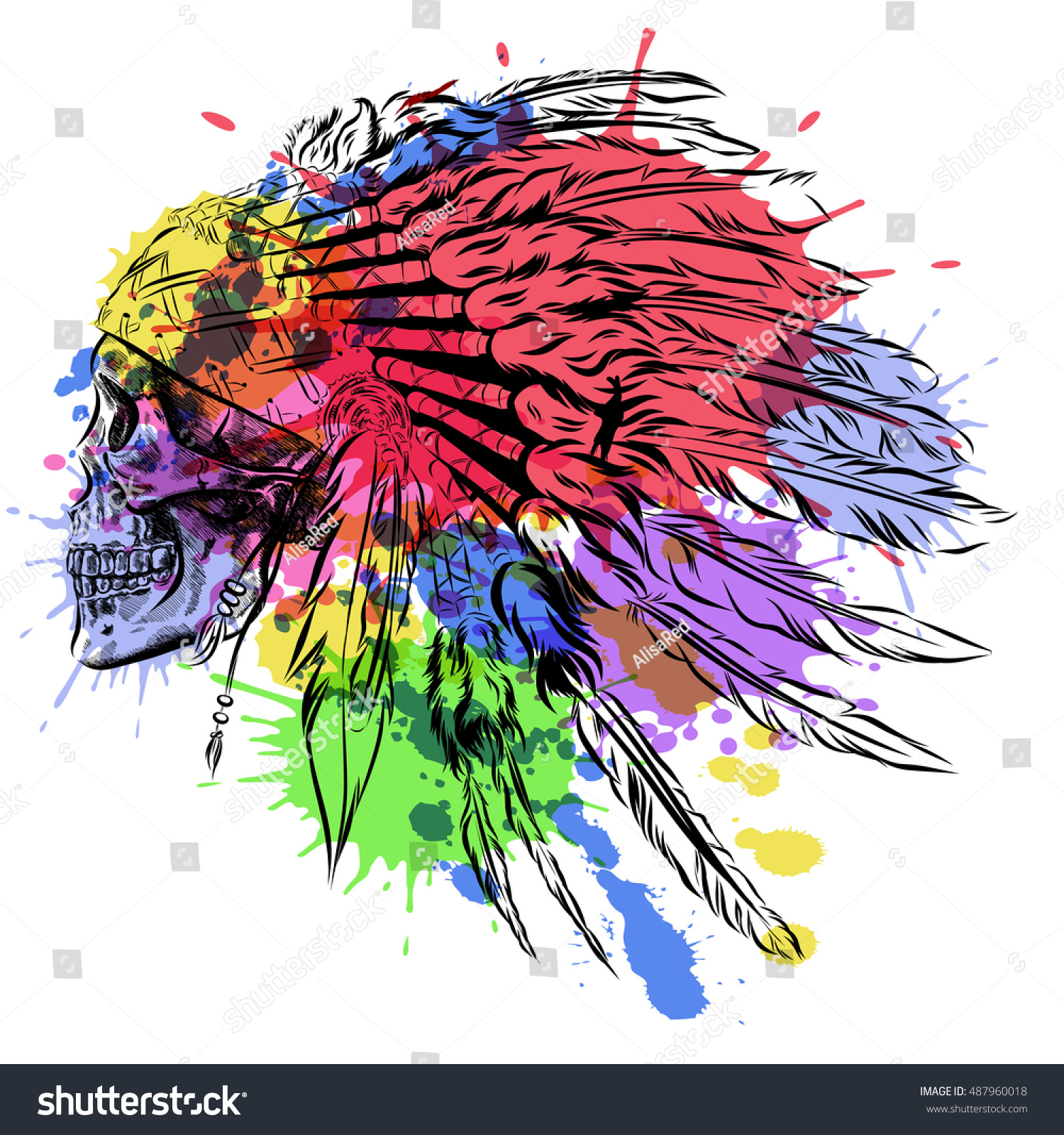 hand drawn native american indian feather stock vector