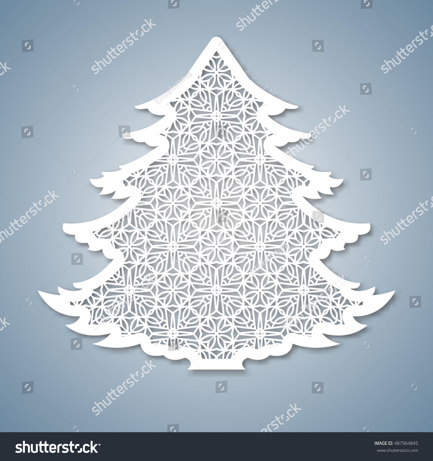 Christmas Cutout Patterns.Christmas Tree Geometric Pattern Laser Cutting Stock Vector