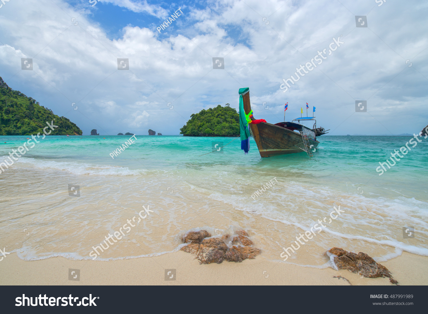 Long Tail Boats Unseen Beach Tub Stock Photo (Royalty Free ...