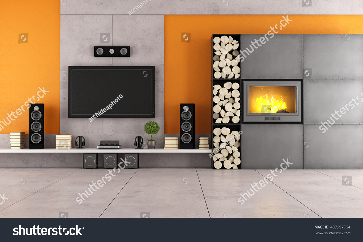 Contemporary Living Room With White Wall Unit And Fireplace