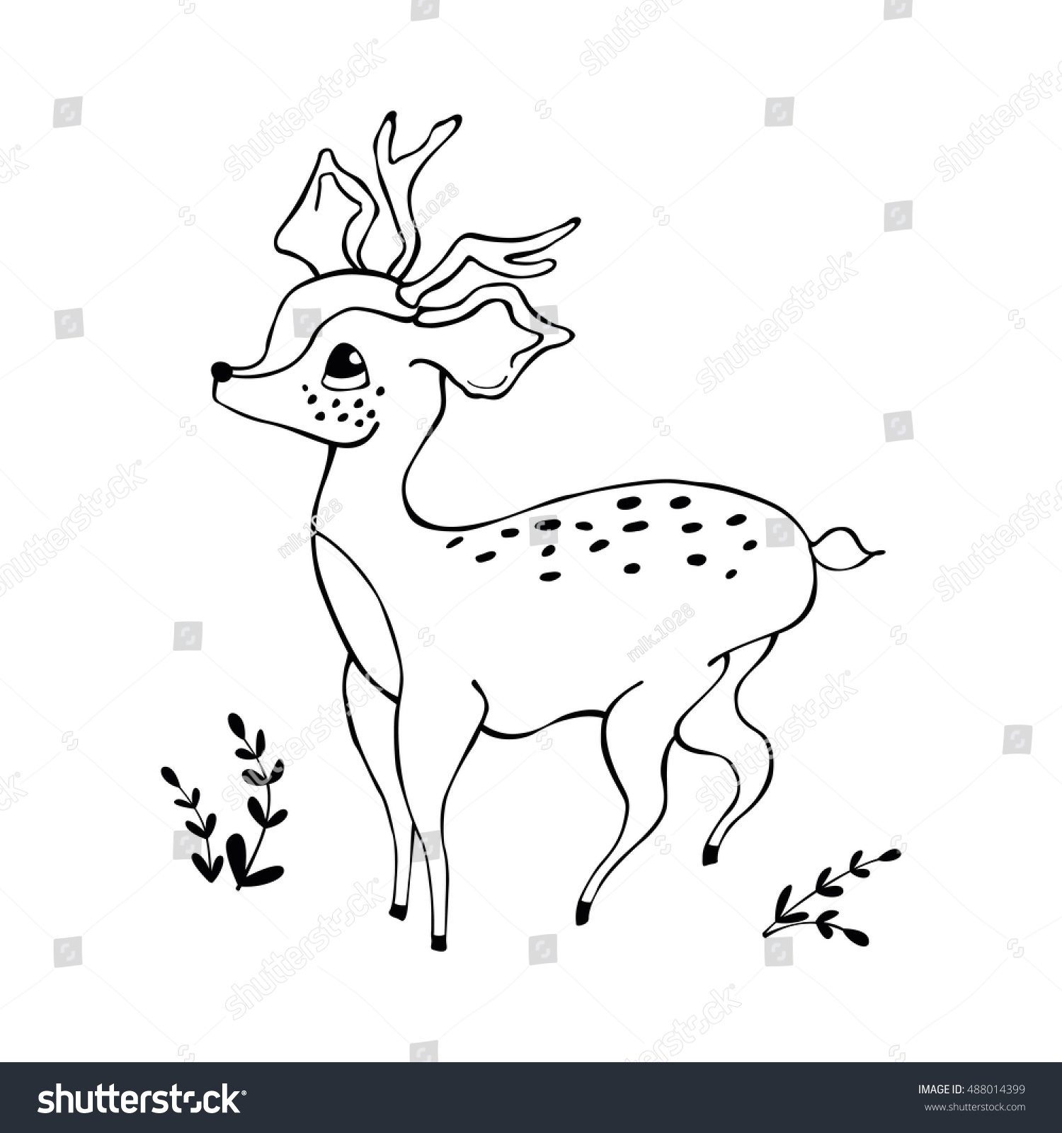 The zoology coloring book - Cute Baby Deer Coloring Book