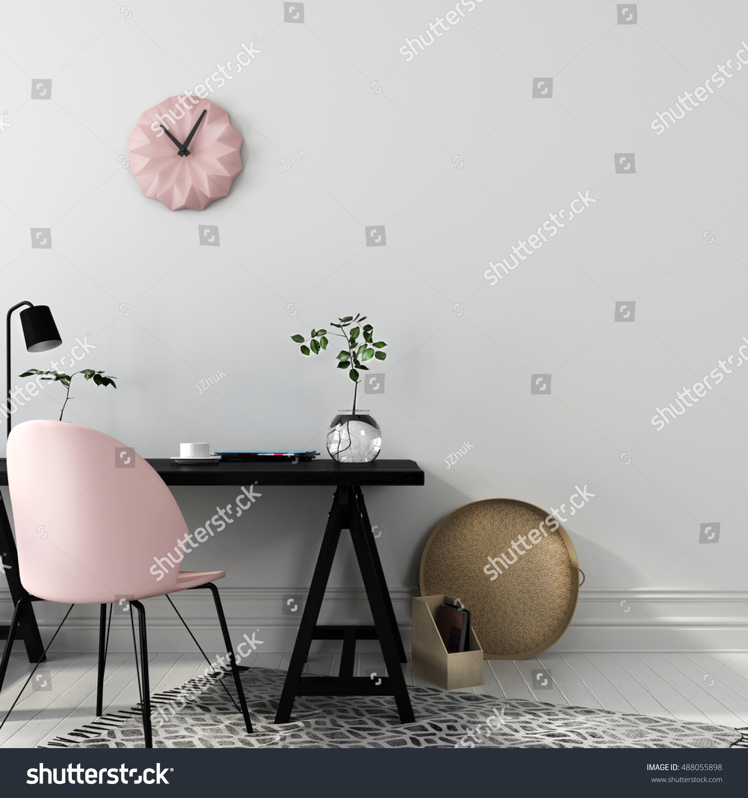 3D illustration of stylish workplace with an interesting combination of a black wooden table and a pink chair