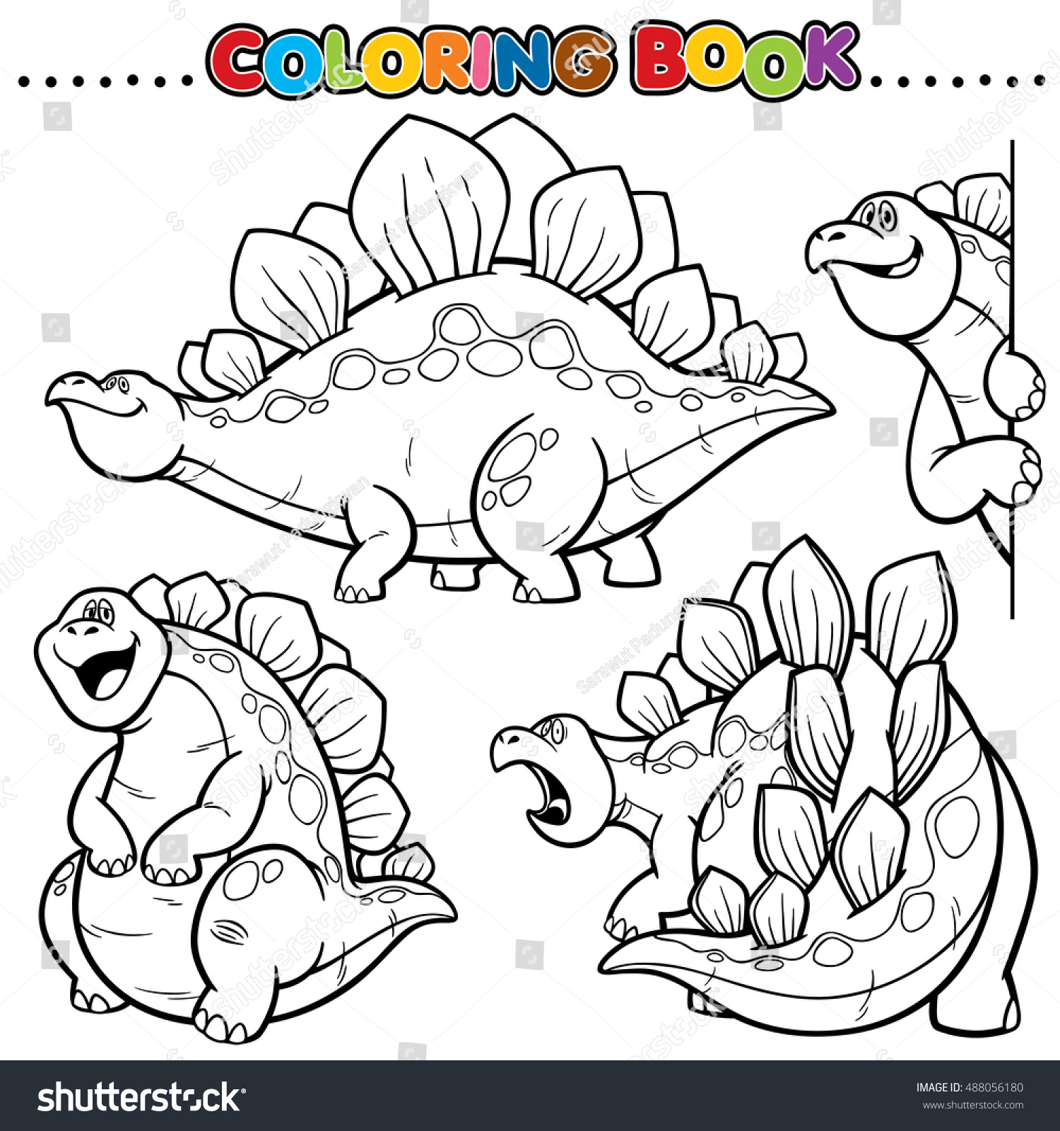 Cartoon Coloring Book Dinosaurs Character Stock Vector 488056180