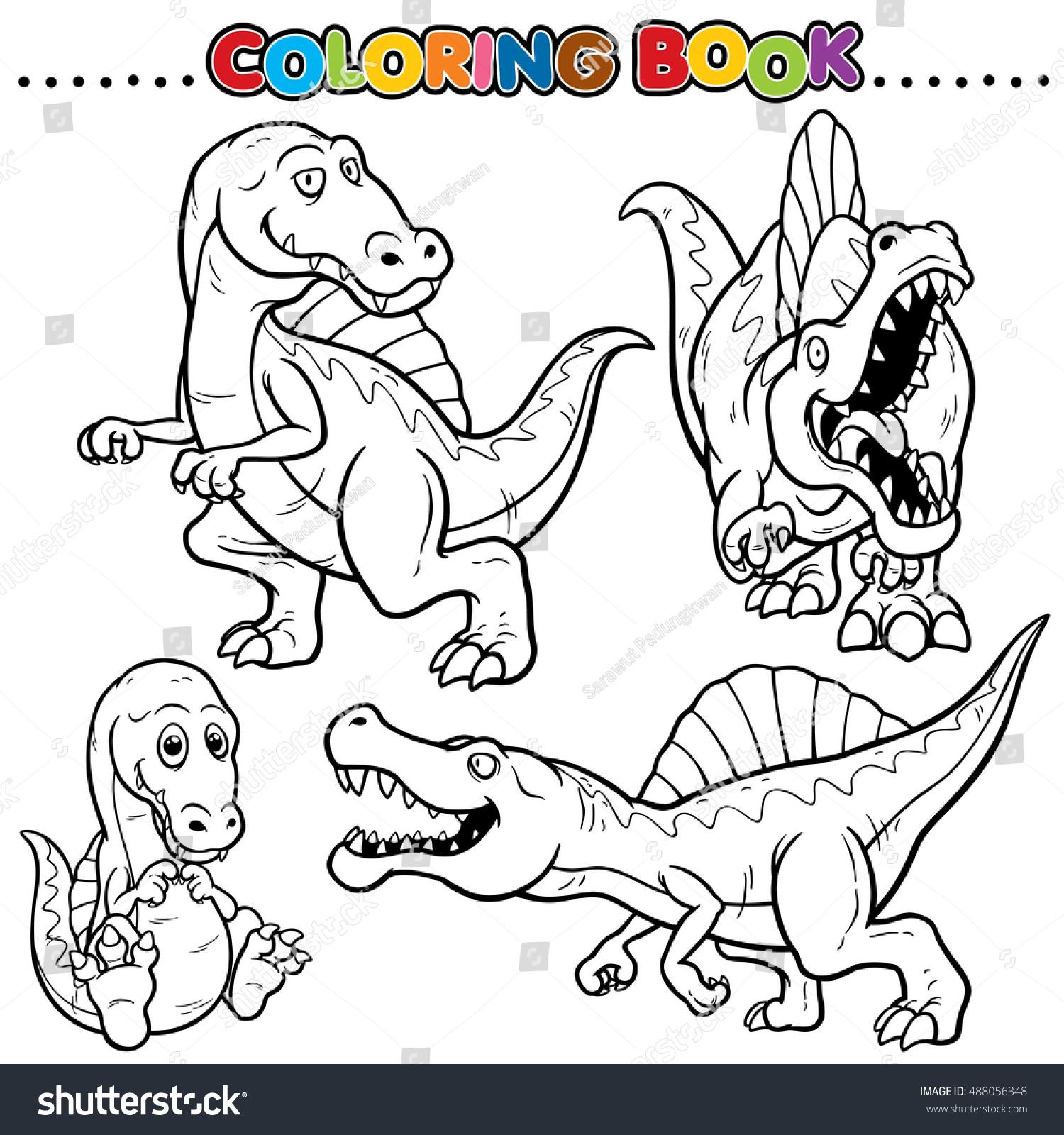 Cartoon Coloring Book Dinosaurs Character Stock Vector 488056348